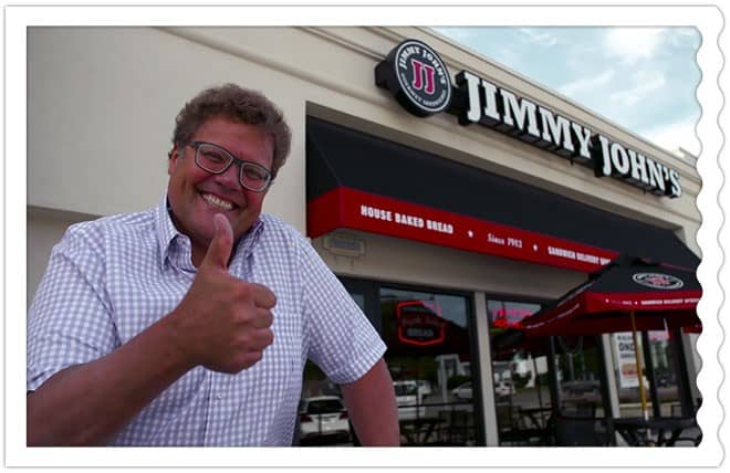 Jimmy John's Owner in front of Jimmy John's Sandwich Shop